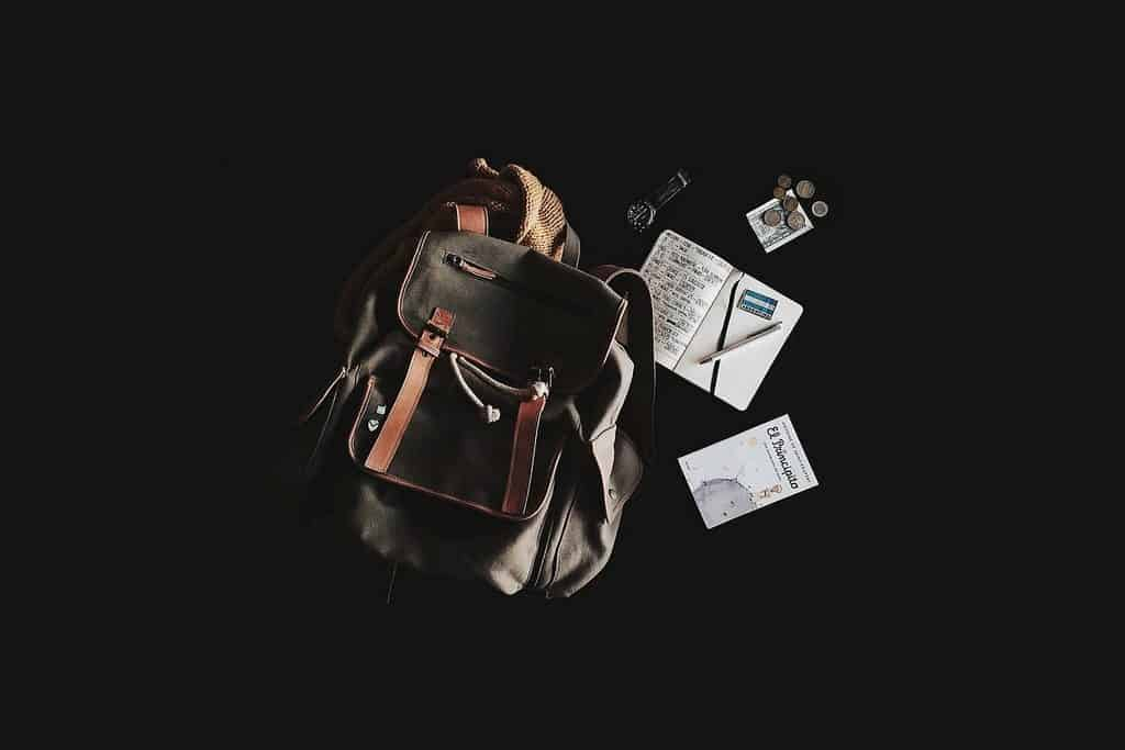 backpack and map