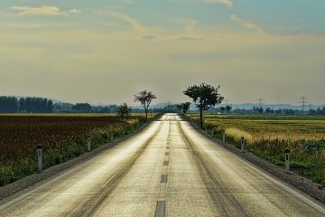 long straight road in the countryside