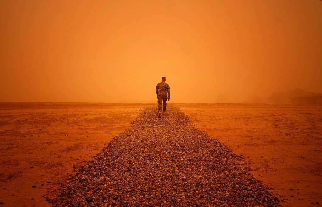soldier in a dust storm