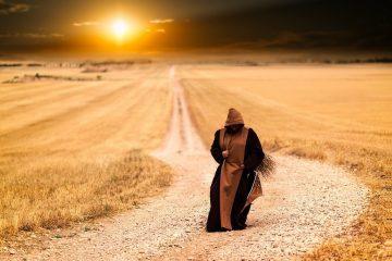 monk in a field