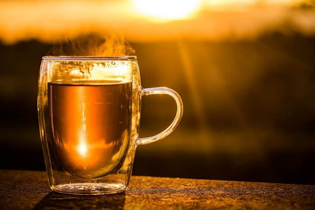 cup of tea at sunrise