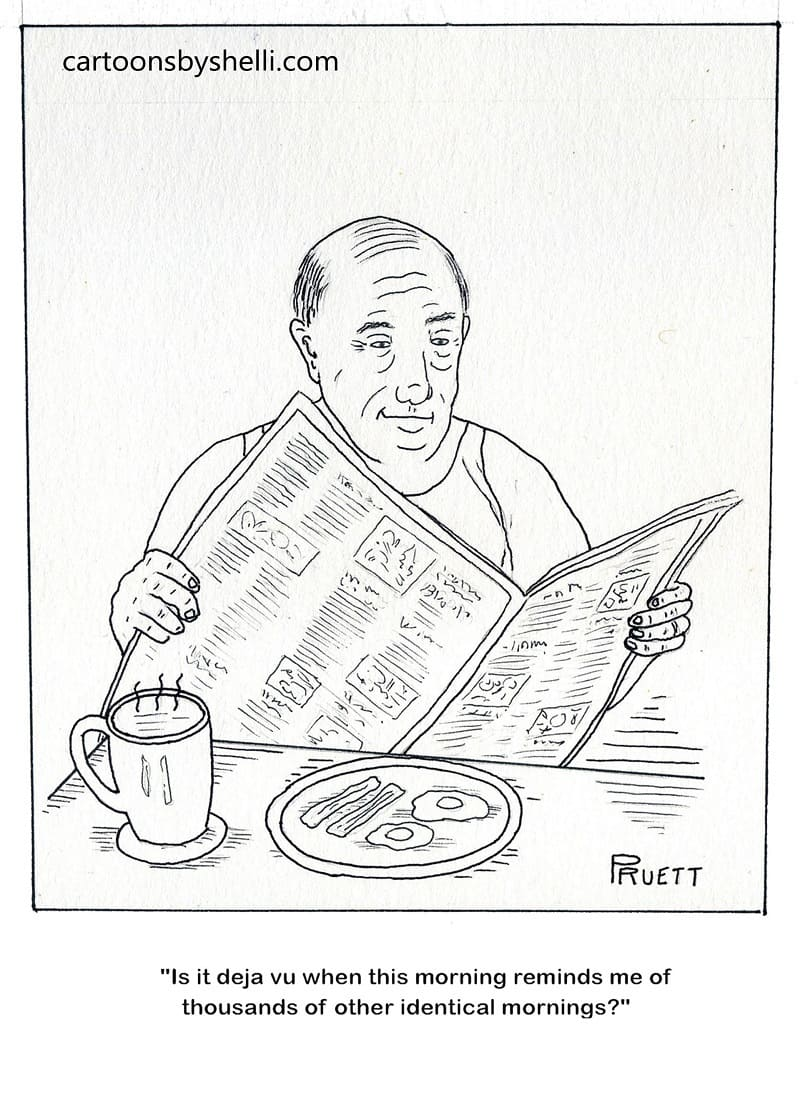 A man with coffee, breakfast and a newspaper experiencing the same type of morning he normally does - Another identical morning