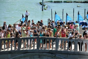 Group of tourists on Ponte della Paglia Venice- Crowded out