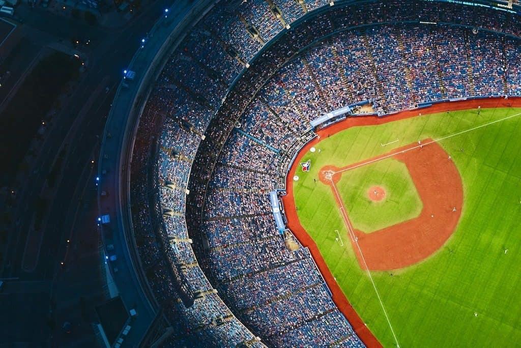Baseball field with spectators