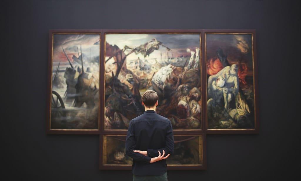 Man studying art