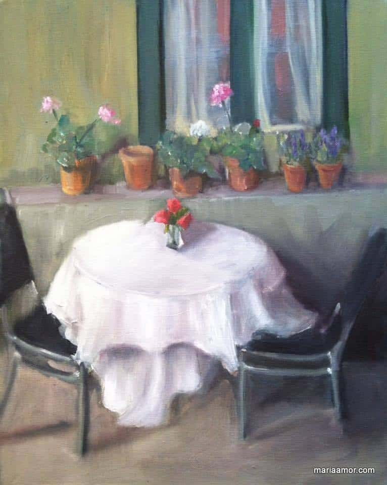 Painting of table and chairs
