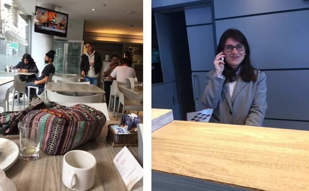 Travellers and desk clerk at Orpheo Express - A day in Montevideo