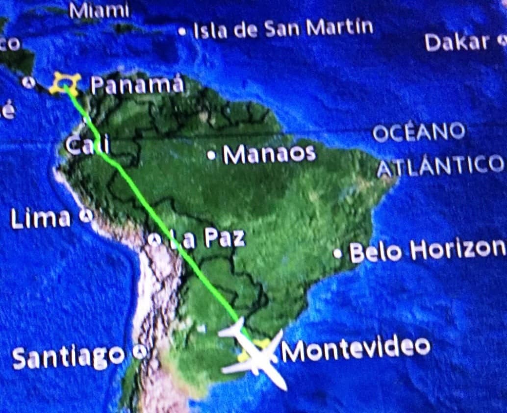 Diagram of author's plane journey from Panama City to Montevideo - A day in Montevideo