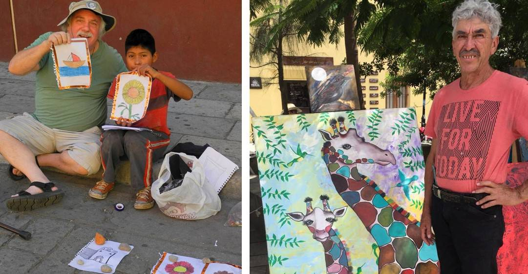Author with two local artists (one child and one adult) - Wonders of Oaxaca
