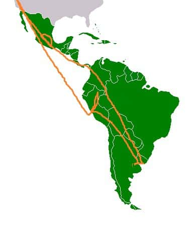 Map of author's travel itinerary through Latin America - Wonders of Oaxaca