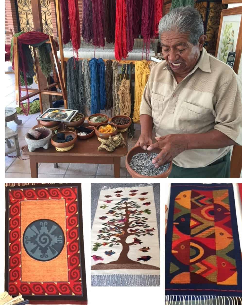 Weaver and woven rugs in Teotitlan - Wonders of Oxaca