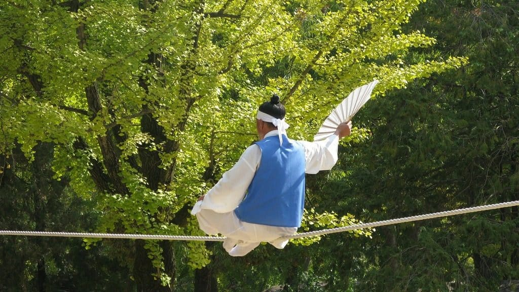 Korean dancer on tightrope
