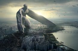 Graphic art of angel with wings over highway