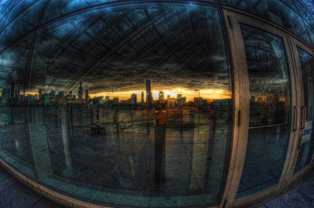 wide horizon reflected in window