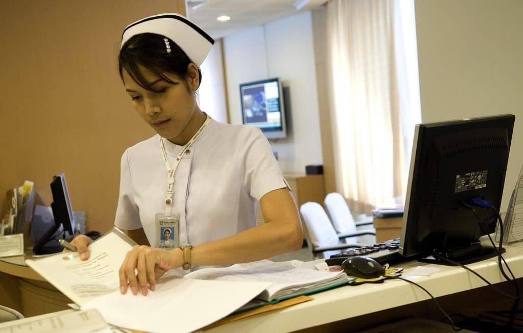 nurse at hospital reception