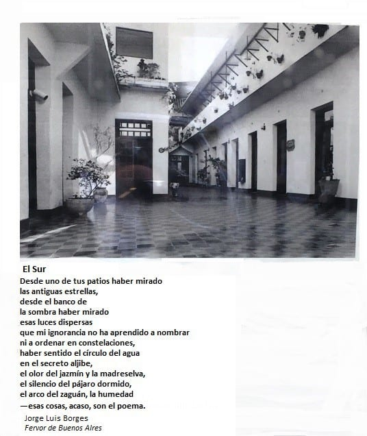 Displayed poem by Jorge Luis Borges - First (and last) tango in Buenos Aires
