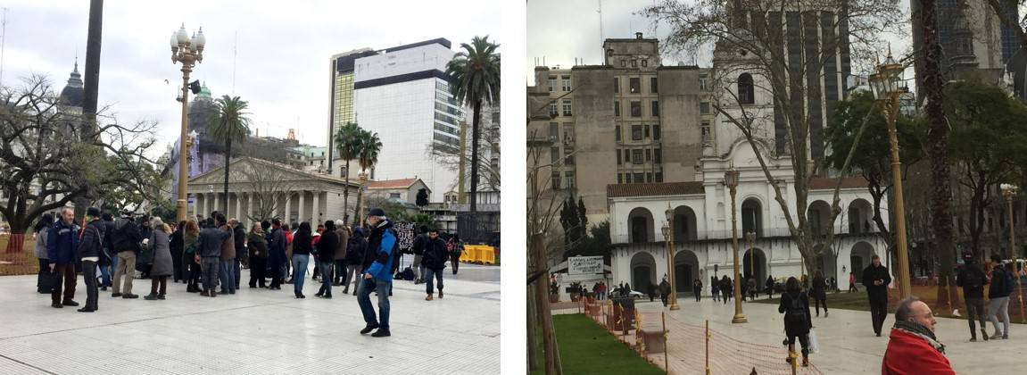 On left, families mourning and on right, El Cabido in Buenos Aires - An American in Argentina