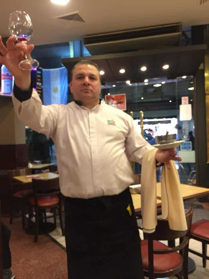 Suarez waiter Francesco - An American in Argentina