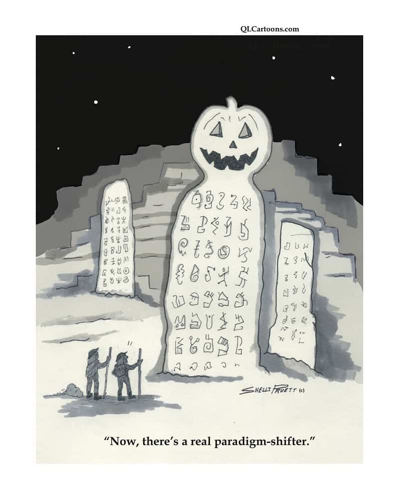 Rock with hieroglyphics and a pumpkin head on top - There's a real paradigm-shifter!