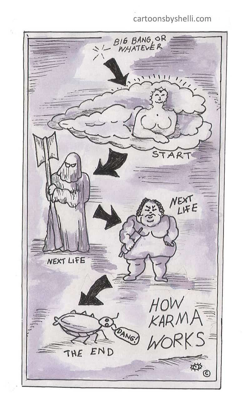 Diagram of four lives of the same being - How karma works