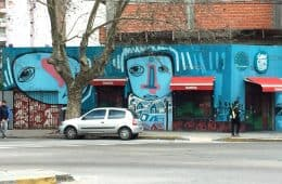 Street scene with car and attractive graffiti - La Plata
