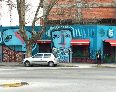 Street scene with car and attractive graffiti - La Plata