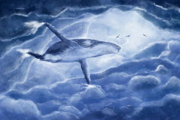 Whale swimming through clouds with birds nearby - Poems by Renee Podunovich
