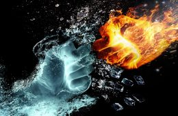 Two fists, one water and one fire, fighting - Identity politics