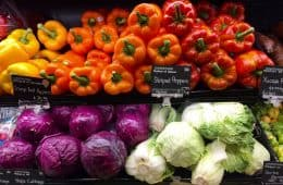 Various produce at grocery store - Real food vs. fake food