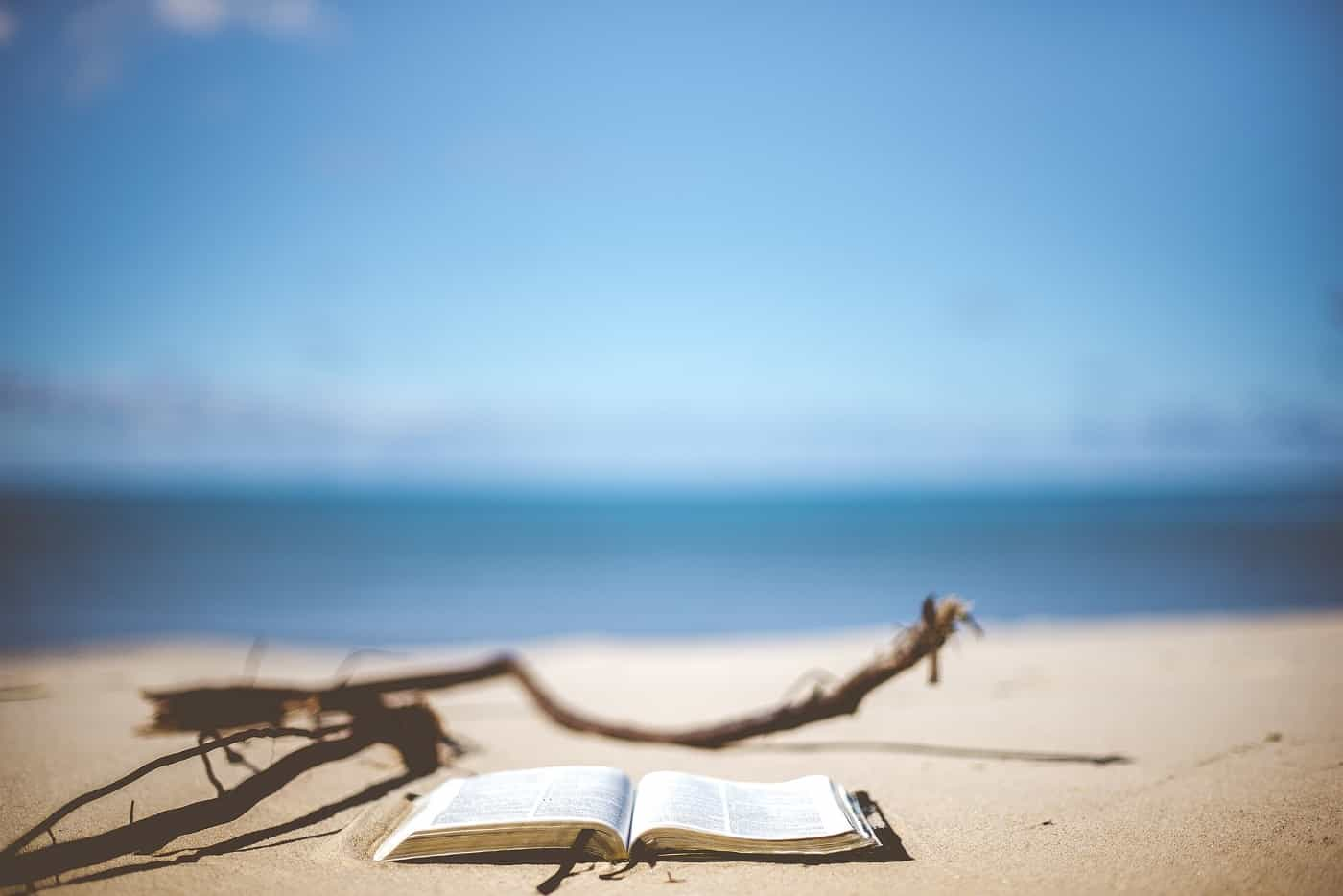Book and driftwood lying on sandy beach - The silence of going solo
