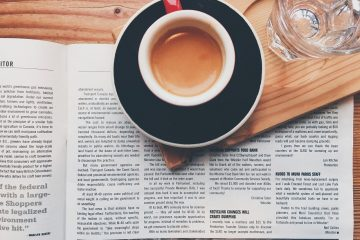 Newspaper, coffee and water glass