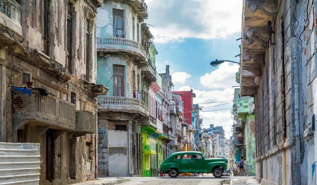 Havana streets with old car