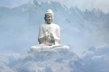 Buddha floating on clouds beside snowy mountains