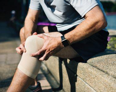 Injured knee with bandage