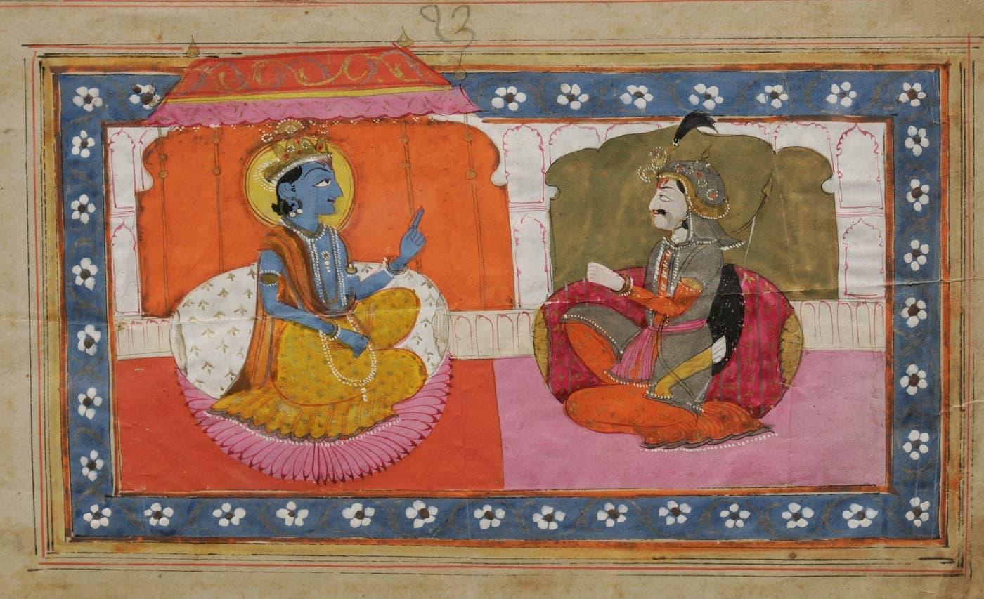 Depiction of Sri Krishna preaching to Arjun