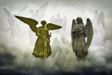 Gold and silver angel against backdrop of other angels in sky