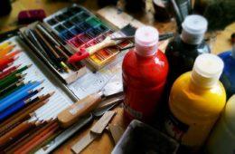 mixed art supplies