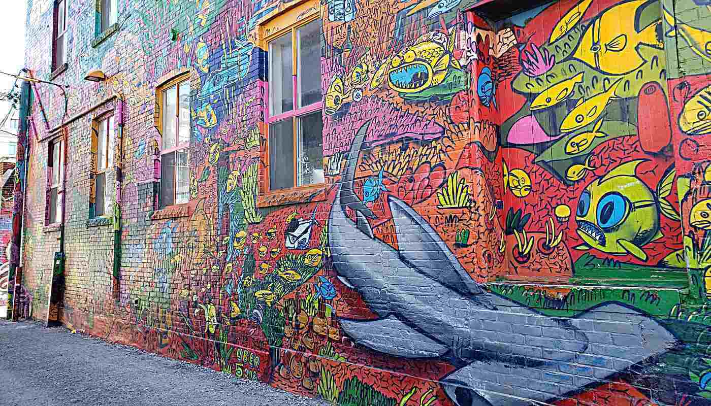 Graffiti on walls in Graffiti Alley, Toronto