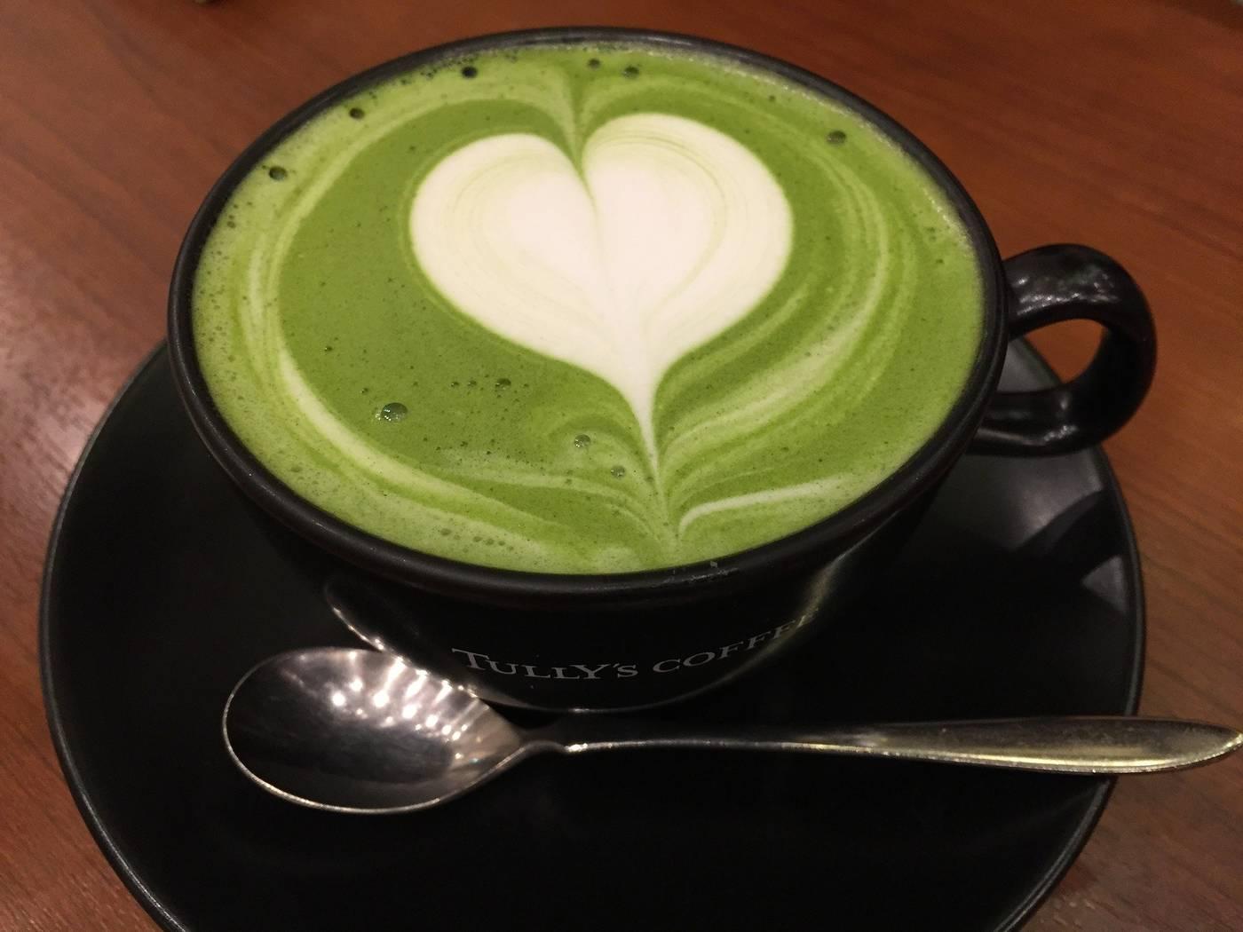 Matcha green tea with heart