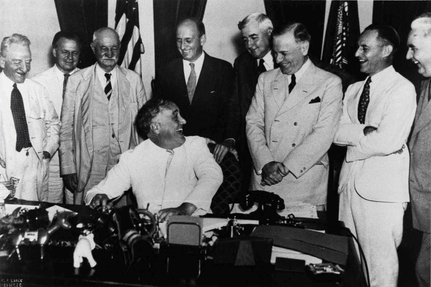 U.S. president Franklin D. Roosevelt with colleagues