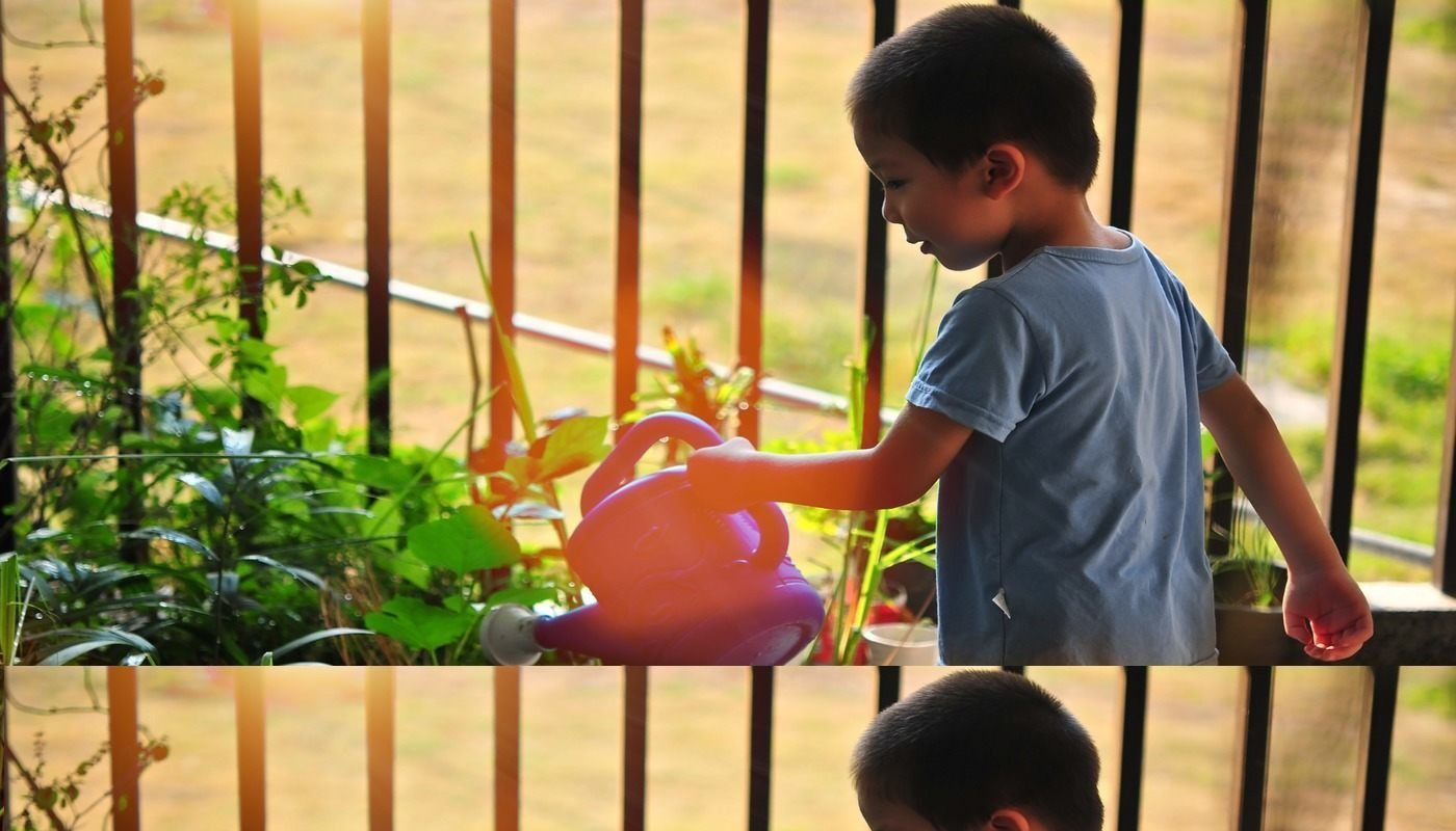 young boy water plants