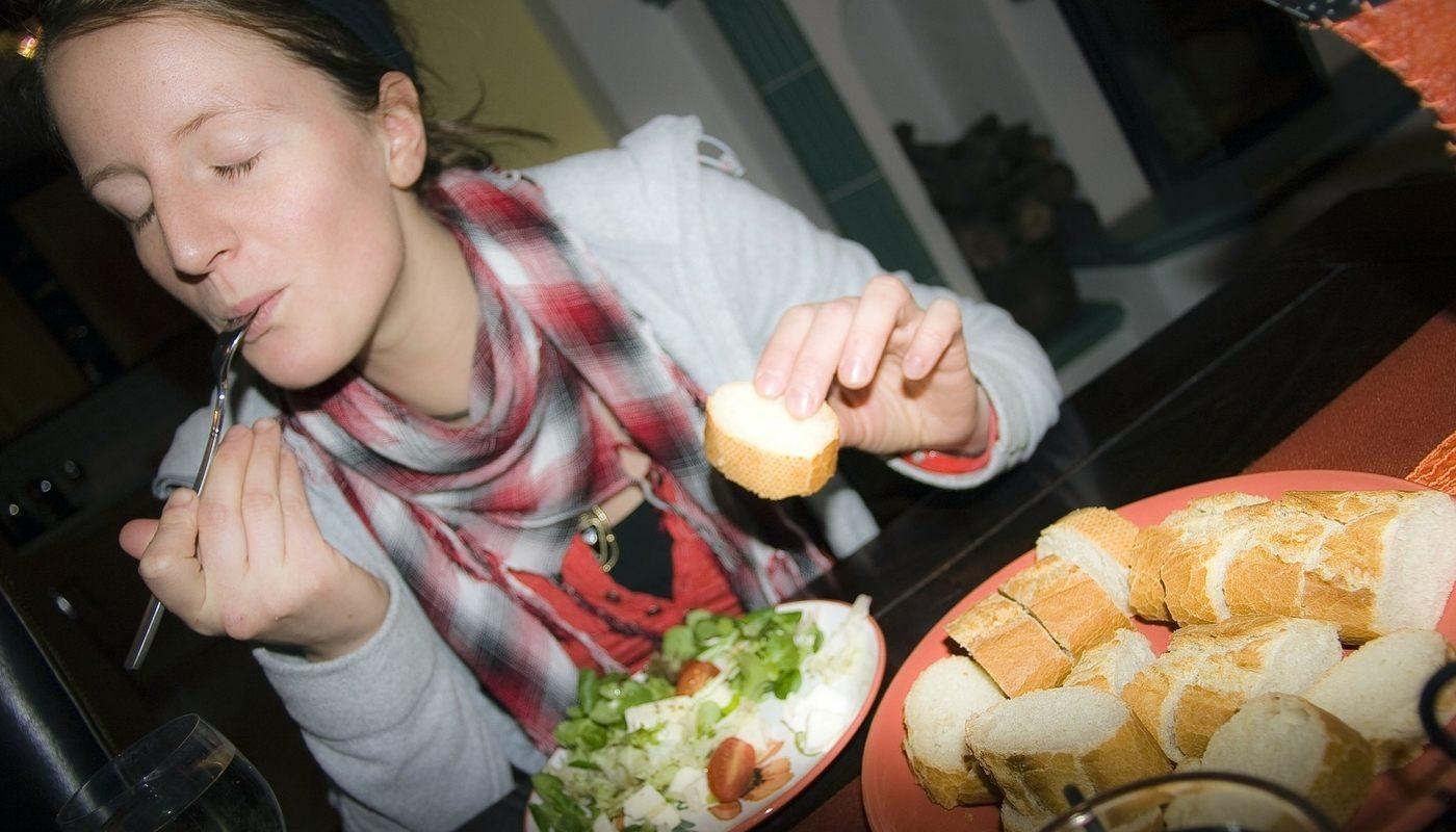 woman enjoying food