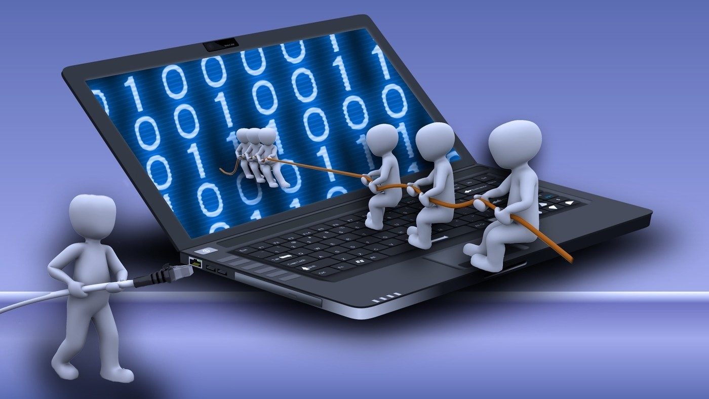 illustration of men pulling others through computer screen