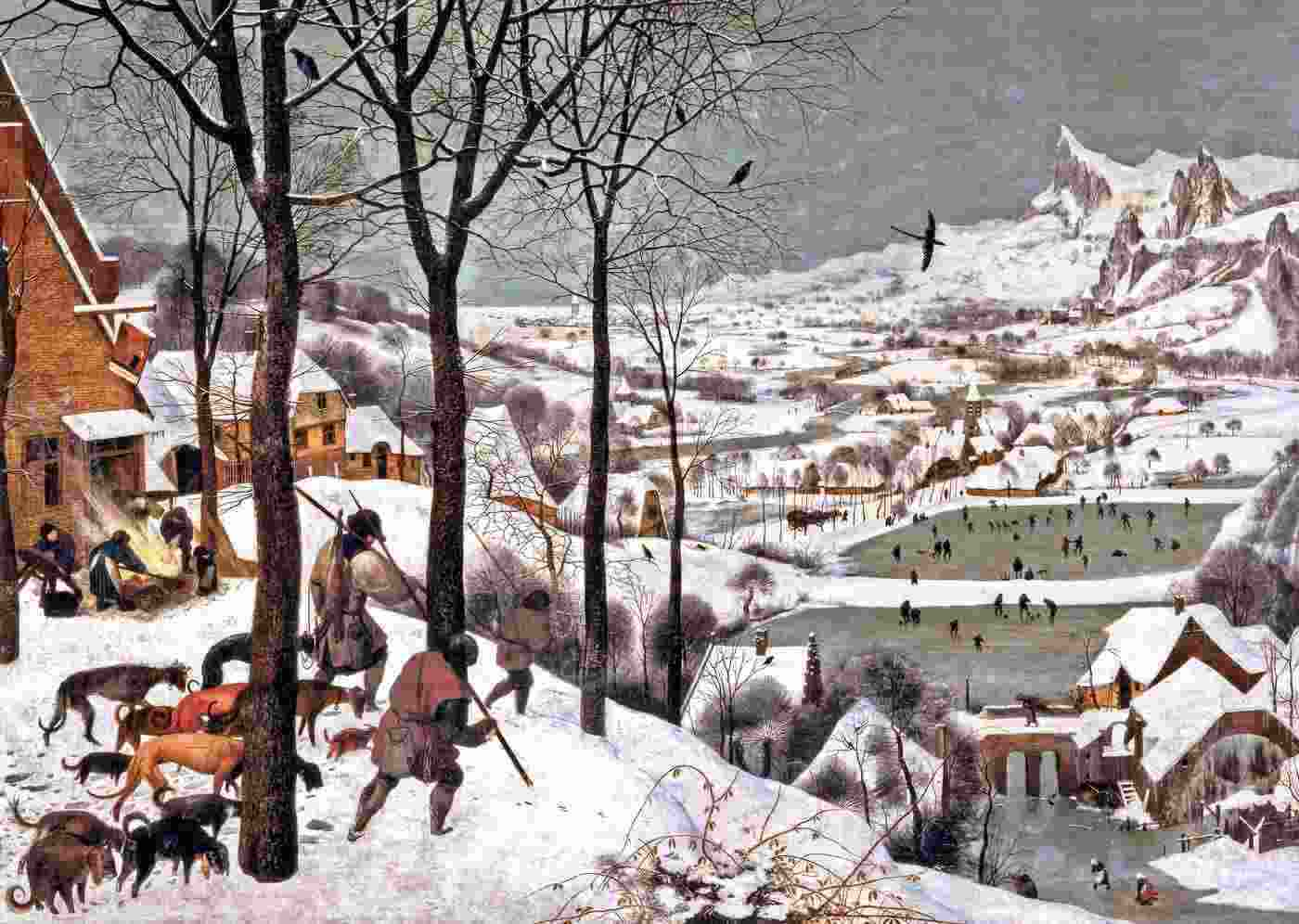 """""""Hunters in the Snow"""" painting by Pieter Brugel the younger"""
